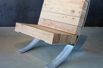 Barcelona Chair - All weather version (d'après Mies van der Rohe). Galvanised steel & Douglas Pine. 2017. © David Michael Clarke ADAGP.