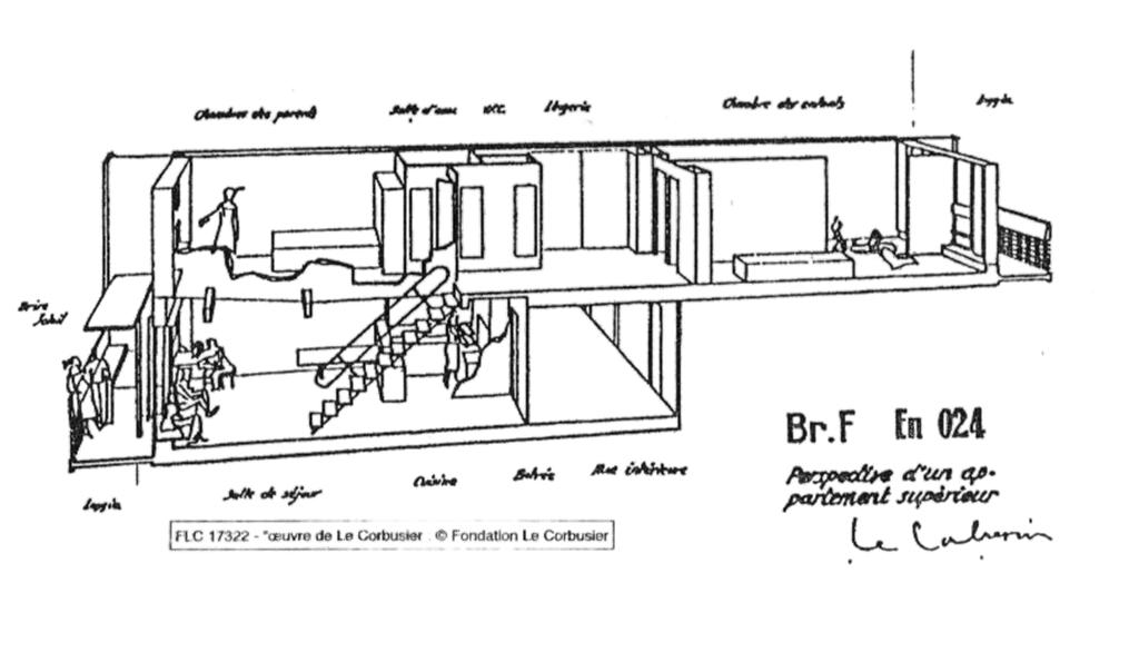 Dessin pour duplex. Le Corbusier.
