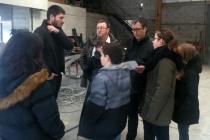 Visite de l'atelier Métal RJ. Dans le cadre d'une résidence artistique organisé par le Frac Normandie Caen au Collège Sainte Thérèse à Saint-Pierre-en-Auge. 2017.